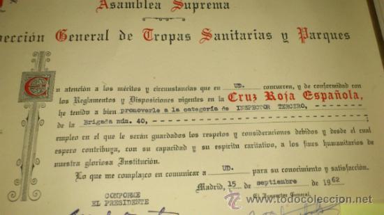 Militaria: Cruz Roja Española. Nombramiento INSPECTOR TERCERO, Brigada TROPAS DE SOCORRO num 40 de SEVILLA-1962 - Foto 3 - 34853560