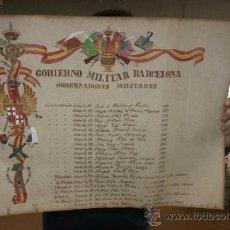 Militaria: GOBIERNO MILITAR DE BARCELONA, PERGAMINO PINTADO DE LOS GOBERNADORES MILITARES.. Lote 34934721