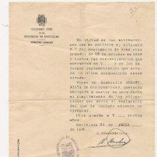 Militaria: DOCUMENTO DEL SOMATÉN ARMADO DE LA PROVINCIA DE BARCELONA EN FECHA 31 DE JULIO DE 1946. Lote 35002264
