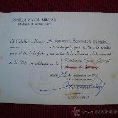 Militaria: DOCUMENTO ESCUELA NAVAL MILITAR.. Lote 35012334