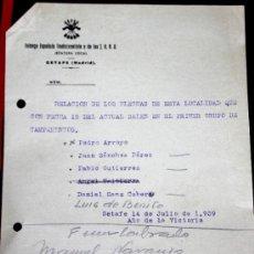 Militaria: DOCUMENTO DEL FRENTE DE JUVENTUDES PRIMERA EPOCA-CAMPAMENTOS. Lote 35021915