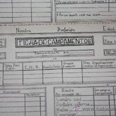 Militaria: DOCUMENTO DEL FRENTE DE JUVENTUDES PRIMERA EPOCA-CAMPAMENTOS. Lote 35021926