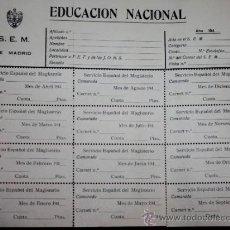 Militaria: DOCUMENTO DEL FRENTE DE JUVENTUDES PRIMERA EPOCA-CAMPAMENTOS. Lote 35021950