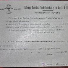 Militaria: DOCUMENTO DEL FRENTE DE JUVENTUDES PRIMERA EPOCA-CAMPAMENTOS. Lote 35021968