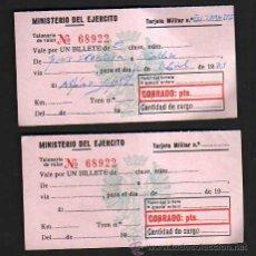 Militaria: MINISTERIO DEL EJERCITO. 2 CUPONES DE VIAJE. 1971. Lote 35103370