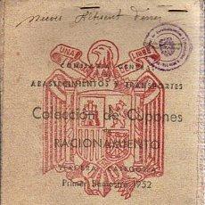 Militaria: LOTE DE 12 CARTILLAS DE RACIONAMIENTO 1ER.SEMESTRE 1952-BALAGUER (VER DETALLE). Lote 35122938