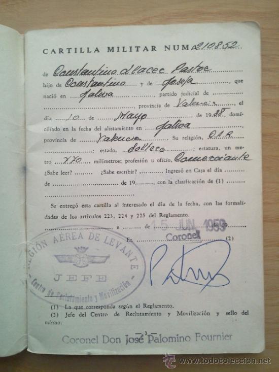 Militaria: LOTE DE DOCUMENTOS Y CARTILLAS MILITARES - Foto 21 - 35218837