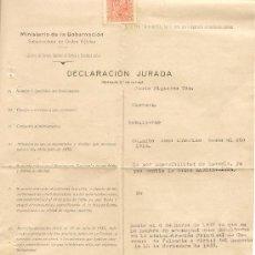 Militaria: 1939 - CORREOS Y TELEGRAFOS - DECLARACION JURADA -JEFATURA NACIONAL. Lote 35278679