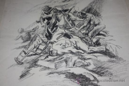 Militaria: CARBONCILLO DE CARLOS SAENZ DE TEJADA O JOAQUIN VALVERDE,MILICIANOS REPUBLICANOS ATRINCHERADOS - Foto 4 - 35416247