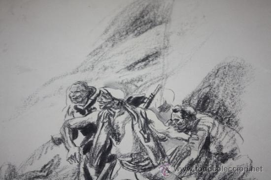 Militaria: CARBONCILLO DE CARLOS SAENZ DE TEJADA O JOAQUIN VALVERDE,MILICIANOS REPUBLICANOS ATRINCHERADOS - Foto 2 - 35416247