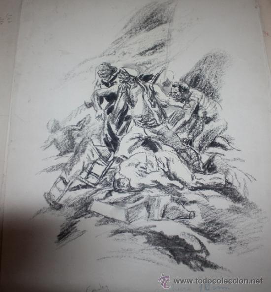 CARBONCILLO DE CARLOS SAENZ DE TEJADA O JOAQUIN VALVERDE,MILICIANOS REPUBLICANOS ATRINCHERADOS (Militar - Propaganda y Documentos)