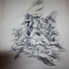 Militaria: CARBONCILLO DE CARLOS SAENZ DE TEJADA O JOAQUIN VALVERDE,MILICIANOS REPUBLICANOS ATRINCHERADOS. Lote 35416247