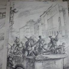 Militaria: CARBONCILLO DE CARLOS SAENZ DE TEJADA O JOAQUIN VALVERDE, MILICIANOS EN LA CAMIONETA. Lote 35416971