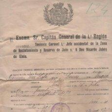 Militaria: LICENCIA DE SOLDADO POR LOS SERVICIOS PRESTADOS AL EJÉRCITO. ZONA DE RECLUTAMIENTO DE JAÉN. 1922. Lote 35652305