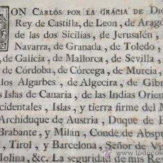 Militaria: REAL ORDENANZA CARLOS III MILICIAS Y SERVICIO DEL EJERCITO RECLUTAMIENTO SOLDADOS .1770 (MUNIAIN. Lote 35607787