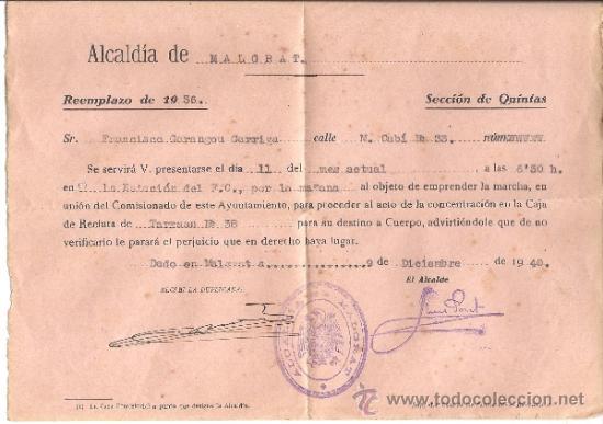 PS3383 LOTE DE 2 CONVOCATORIAS DE REEMPLAZO Y UNA DECLARACIÓN, DE 1937 Y 1940. MALGRAT (Militar - Propaganda y Documentos)