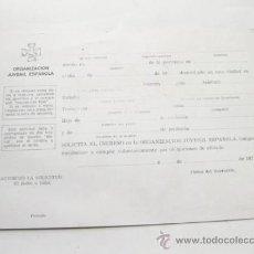 Militaria: FICHA A RELLENAR PARA ENTRAR EN LA OJE - ORGANIZACION JUVENIL ESPAÑOLA. Lote 35674591
