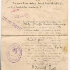 Militaria: DOCUMENTO DON MANUEL PRIETO CORONEL JEFE REGIMIENTO... 1944. Lote 35831385