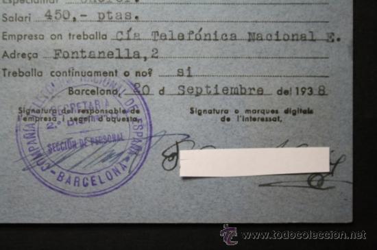 Militaria: Carnet Certificat de Treball Generalitat de Catalunya Año 1938 Chofer Empleado Telefonica - CNT UGT - Foto 3 - 35872181