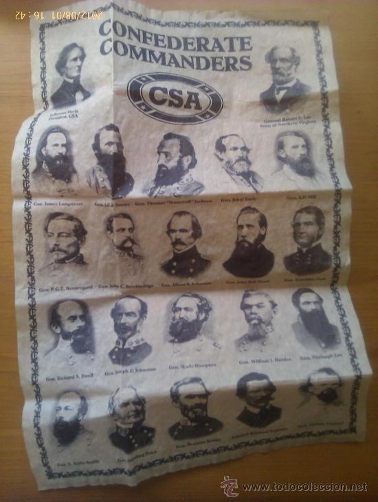 DOCUMENTO HISTÓRICO. COMANDANTES CONFEDERADOS. CONFEDERACIÓN. GUERRA DE SECESIÓN AMERICANA. 1861-65 (Militar - Propaganda y Documentos)