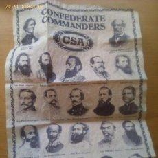 Militaria: DOCUMENTO HISTÓRICO. COMANDANTES CONFEDERADOS. CONFEDERACIÓN. GUERRA DE SECESIÓN AMERICANA. 1861-65. Lote 149909081
