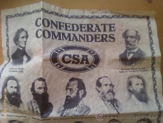 Militaria: Documento Histórico. Comandantes Confederados. Confederación. Guerra de Secesión Americana. 1861-65 - Foto 2 - 149909081