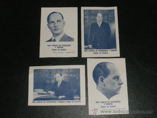 DON CARLOS DE HABSBURGO Y BORBON, DUQUE DE MADRID. 4 FLYERS, CARLISMO. (Militar - Propaganda y Documentos)