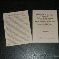 Militaria: MISA POR LOS MARTIRES DE LA TRADICION, 1949. CARLOS VIII. 2 FLYERS DE CARTON.. Lote 36197962