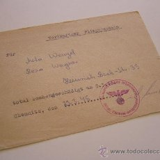 Militaria: DOCUMENTO MILITAR ALEMÁN. VUELO SIMULADO. CHEMNITZ. AÑO 1945. CON SELLO.. Lote 36251183