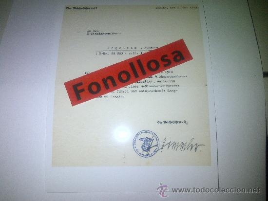 FOTO DE DOCUMENTO Y FIRMA DE H. HIMMLER 13X18 CMS (Militar - Propaganda y Documentos)