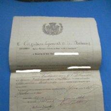 Militaria: DOCUMENTO. RESERVA ABSOLUTA. FIRMADA EN INCA. MALLORCA. 1920.. Lote 36928763