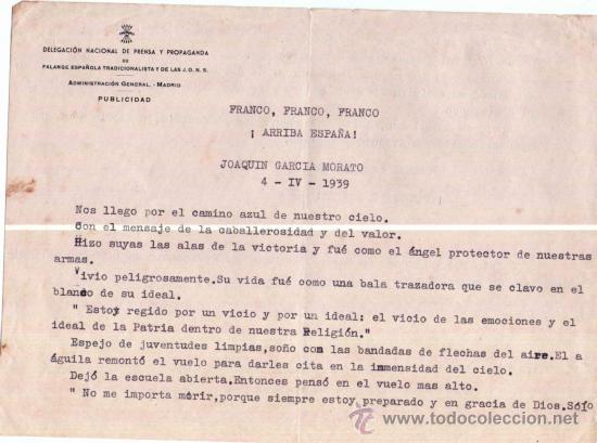 PILOTO JOAQUIN GARCIA MORATO, AS DE LA GUERRA CIVIL ESPAÑOLA.PARTE FALANGE ANIVERSARIO DE SU MUERTE (Militar - Propaganda y Documentos)
