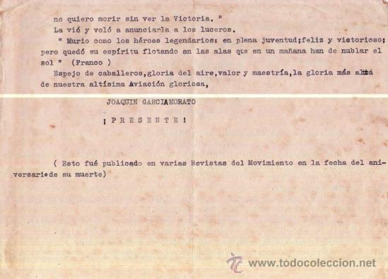 Militaria: PILOTO JOAQUIN GARCIA MORATO, AS DE LA GUERRA CIVIL ESPAÑOLA.PARTE FALANGE ANIVERSARIO DE SU MUERTE - Foto 2 - 37068348
