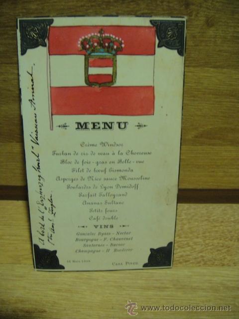 TARJETA DE MENU DEL 16 DE MARZO DE 1908 - EN EL ACORAZADO AUSTRO - HUNGARO ERZHERZOG KARL (Militar - Propaganda y Documentos)