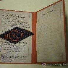 Militaria: CARNET DE LA UGT, SINDICATO SIDEROMETALÚRGICO, CON PARCHE UGT, 1938.REPÚBLICA. Lote 37300453