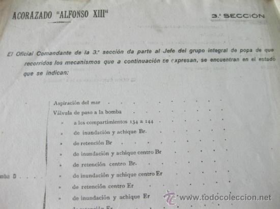 Militaria: HOJA A RELLENAR CON EL ESTADO DE MATERIAL DE LAS MAQUINAS DEL ACORAZADO ALFONSO XIII - Foto 2 - 37460937
