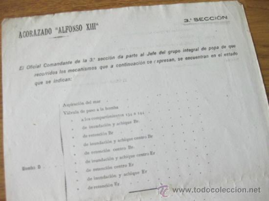 Militaria: PARTE DEL ESTADO DE MATERIAL DE LAS MAQUINAS DEL ACORAZADO ALFONSO XIII - Foto 2 - 37460858