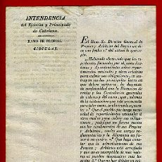 Militaria: DOCUMENTO INTENDENCIA EJERCITO CATALUÑA , CIRCULAR RAMO DE PROPIOS , 1828 , ORIGINAL , C8. Lote 37505945