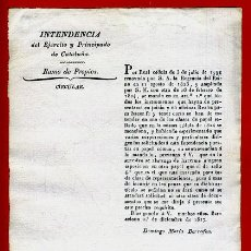Militaria: DOCUMENTO INTENDENCIA EJERCITO CATALUÑA , CIRCULAR RAMO DE PROPIOS , 1827 , ORIGINAL , C10. Lote 37505956