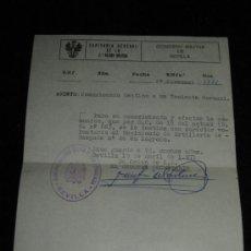 Militaria: DOCUMENTO DE CAPITANIA GENERAL - SEVILLA - COMUNICADO DESTINO TENIENTE CORONEL 1971. Lote 37524248