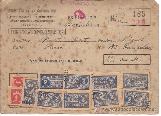 PS3071 CARNET DE PLATO ÚNICO Y DÍA SIN POSTRE. CON INSTRUCCIONES EN EL DORSO. BARCELONA (Militar - Propaganda y Documentos)