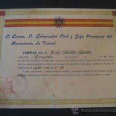 Militaria: ANTIGUO DIPLOMA DE 1947. EL EXCMO. GOBERNADOR Y JEFE PROVINCIAL DEL MOVIMIENTO DE TERUEL. . Lote 37659075