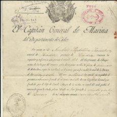 Militaria: NOMBRAMIENTO DE PRIMER MAQUINISTA POR EL CAPITAN GENERAL DE MARINA.1908. Lote 37962467