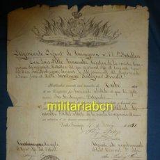 Militaria: GUERRA DE CUBA. NOMBRAMIENTO DE UN CABO DEL REGIMIENTO DE INFANTERÍA DE TARRAGONA. 1891. CUBA,. Lote 38004827