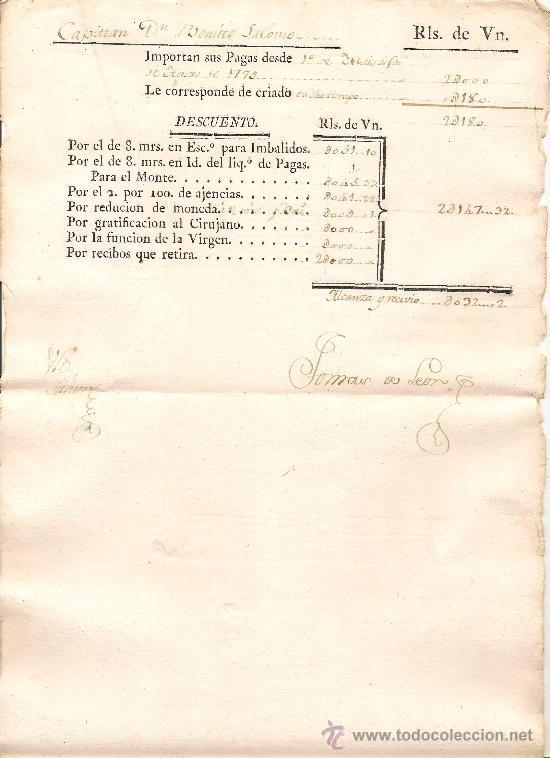 HOJA DE SUELDOS DE UN CAPITÁN DEL EJÉRCITO ESPAÑOL DEL AÑO 1784 (Militar - Propaganda y Documentos)