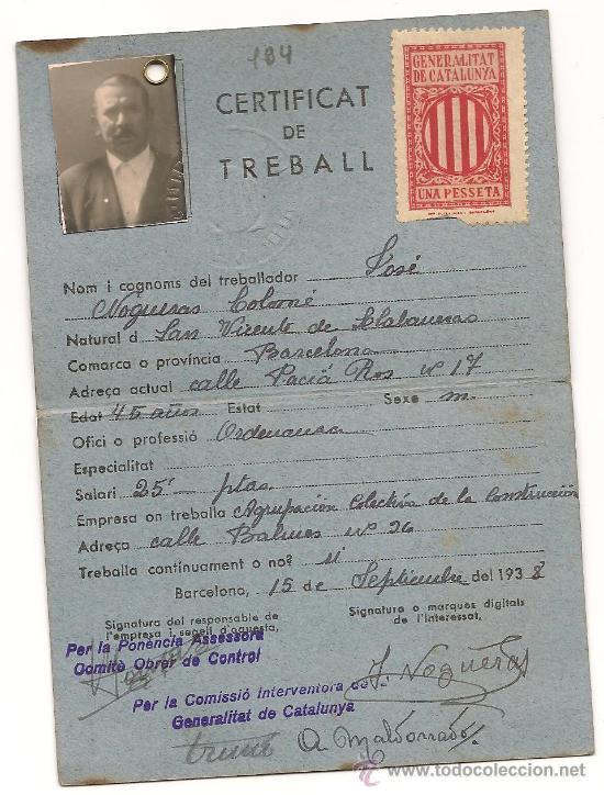 CARNET DEL DEPARTAMENT D'OBRES PUBLIQUES DE LA GENERALITAT DE CATALUNYA EXPEDIDO EL 15/9/1938 (Militar - Propaganda y Documentos)
