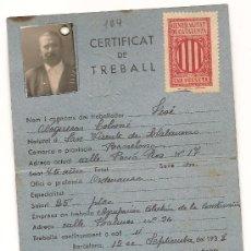 Militaria: CARNET DEL DEPARTAMENT D'OBRES PUBLIQUES DE LA GENERALITAT DE CATALUNYA EXPEDIDO EL 15/9/1938. Lote 38178363