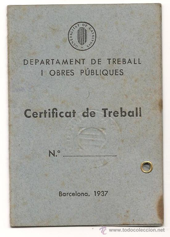 Militaria: CARNET DEL DEPARTAMENT D'OBRES PUBLIQUES DE LA GENERALITAT DE CATALUNYA EXPEDIDO EL 15/9/1938 - Foto 2 - 38178363