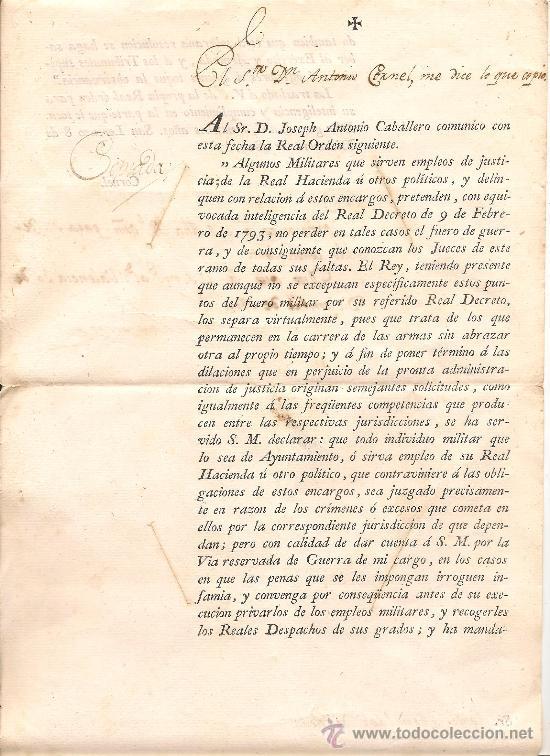ORDEN MILITAR CON FECHA 30 DE DICIEMBRE DEL AÑO 1800 (Militar - Propaganda y Documentos)