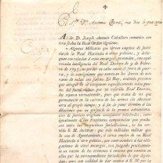 Militaria: ORDEN MILITAR CON FECHA 30 DE DICIEMBRE DEL AÑO 1800. Lote 38182320